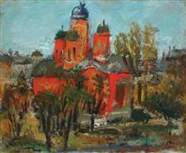 Red Church Landscape - Lucian Grigorescu