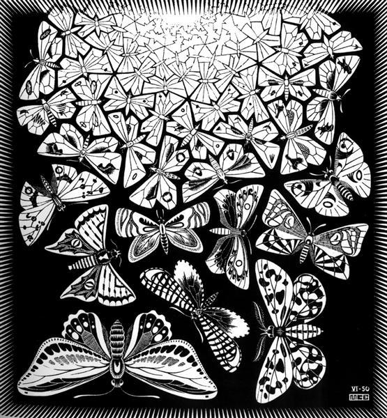 Butterflies, 1950 - M.C. Escher