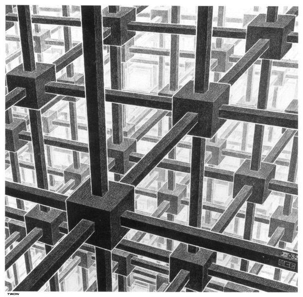 Cubic space division, 1953 - M.C. Escher