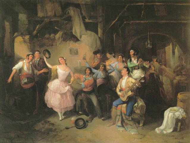 Juerga flamenca en la feria, 1854