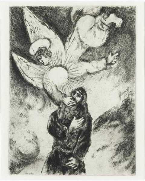 Jeremiah received Gift of the prophecy (Jeremiah, I, 4 10), c.1956 - Marc Chagall