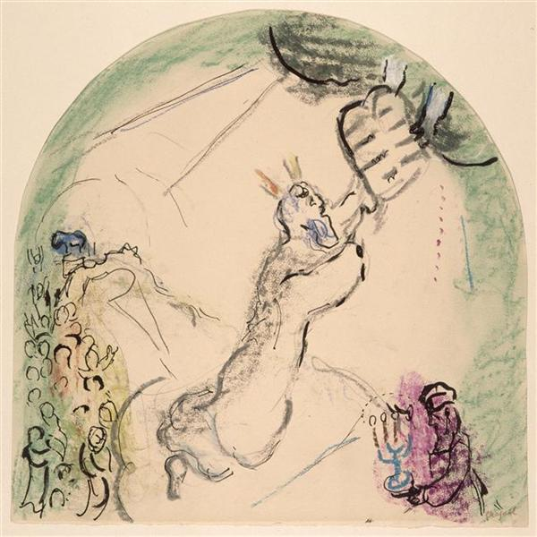 Moses receiving the Tablets of Law, c.1963 - Marc Chagall