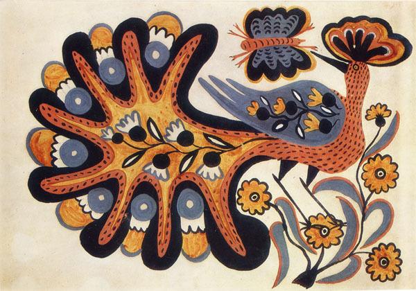 Fairy bird – Peacock, 1936 - Maria Primachenko