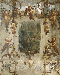 Mirror Decorated with Putti, Flowers and Acanthus Scrolls - Mario Nuzzi