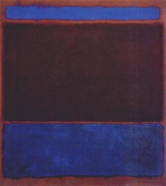 No. 3 (Bright Blue, Brown, Dark Blue on Wine), 1962 - Mark Rothko