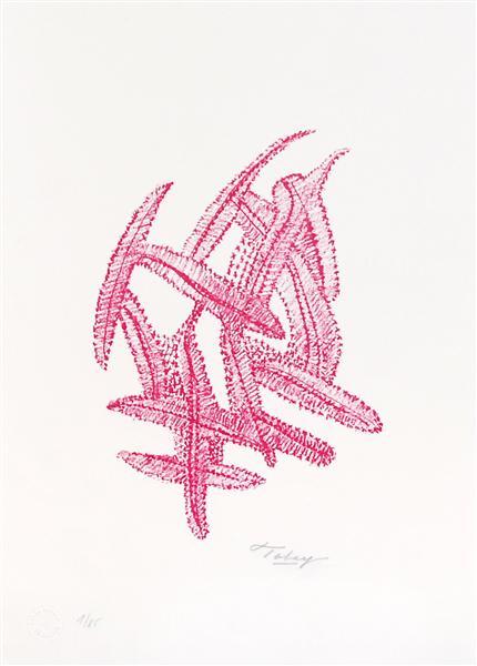 Komposition - rot, 1972 - Mark Tobey