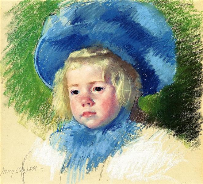 Head of Simone in a Large Plumes Hat, Looking Left, 1903 - Mary Cassatt