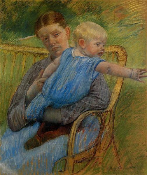 Mathilde Holding a Baby Who Reaches out to the Right, c.1889 - Mary Cassatt