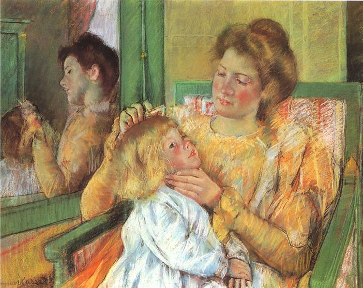 Mother Combing Her Child's Hair, 1879 - Mary Cassatt