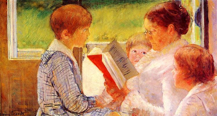 Mrs Cassatt Reading to her Grandchildren, 1880 - Мері Кассат