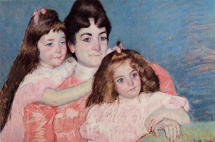 Portrait of Madame A. F. Aude and Her Two Daughters, 1899 - Mary Cassatt