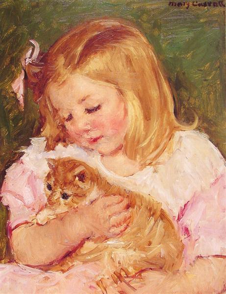 Sara Holding A Cat, c.1908 - Mary Cassatt