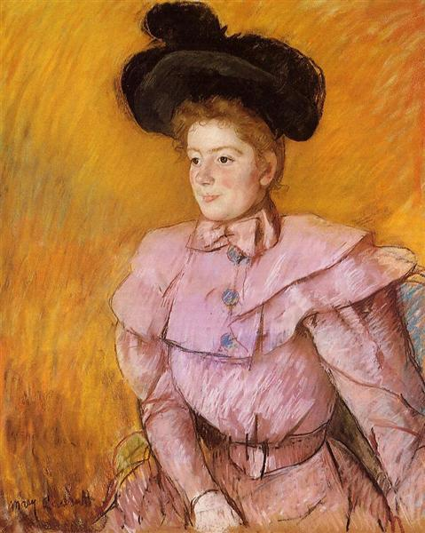 Woman in a Black Hat and a Raspberry Pink Costume, 1900 - Mary Cassatt