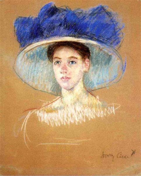 Woman`s Head with Large Hat, c.1909 - Mary Cassatt