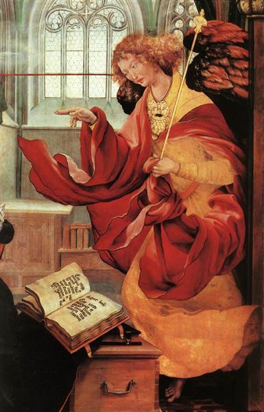 Archangel Gabriel (detail from the Annunciation from the Isenheim Altarpiece), c.1512 - c.1516 - Matthias Grünewald