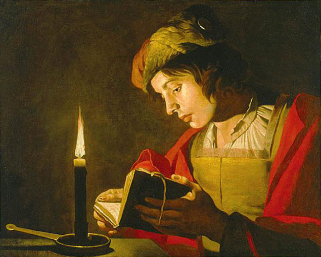 Young Man Reading by Candle Light - Matthias Stom