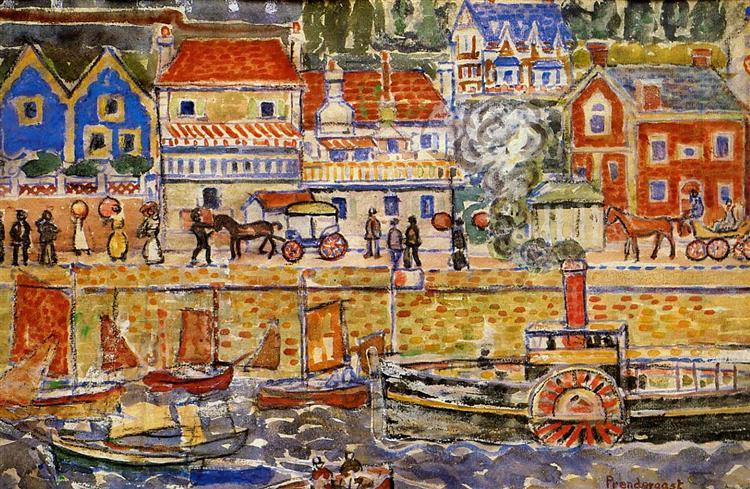 Boat Landing, Dinnard, c.1914 - Морис Прендергаст
