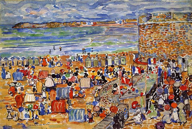 On the Beach, St. Malo, c.1907 - Maurice Prendergast