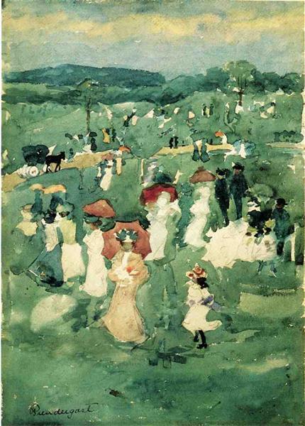 El dar un paseo en el parque (también conocido como en el parque) - Maurice Prendergast