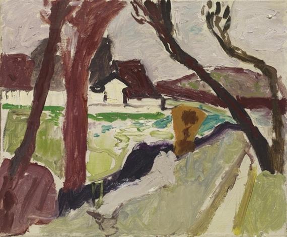 View of Fahr Monastery through Trees, 1945 - Max Gubler