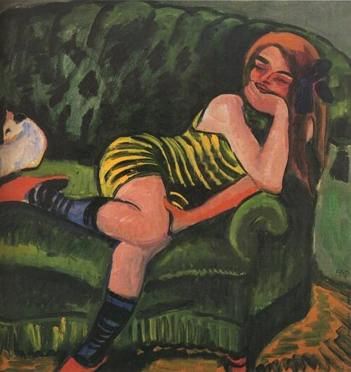 Girl on a Green Sofa with a Cat, 1910 - Max Pechstein