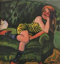 Girl on a Green Sofa with a Cat - Max Pechstein