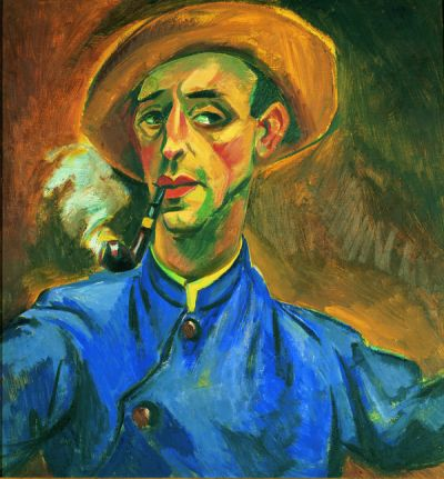 Self-Portrait with Pipe and Hat, 1918 - Max Pechstein