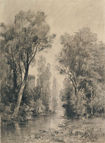 Castle Overlooking a River - Maxime Lalanne