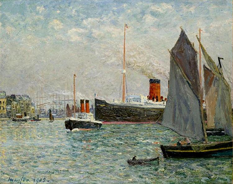 The Transatlantic leaving Port, 1905 - Maxime Maufra