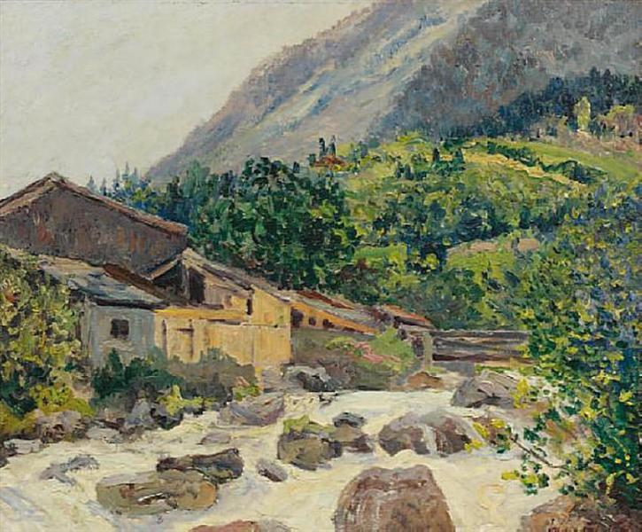 The village on the river, Bozel, 1914 - Maxime Maufra