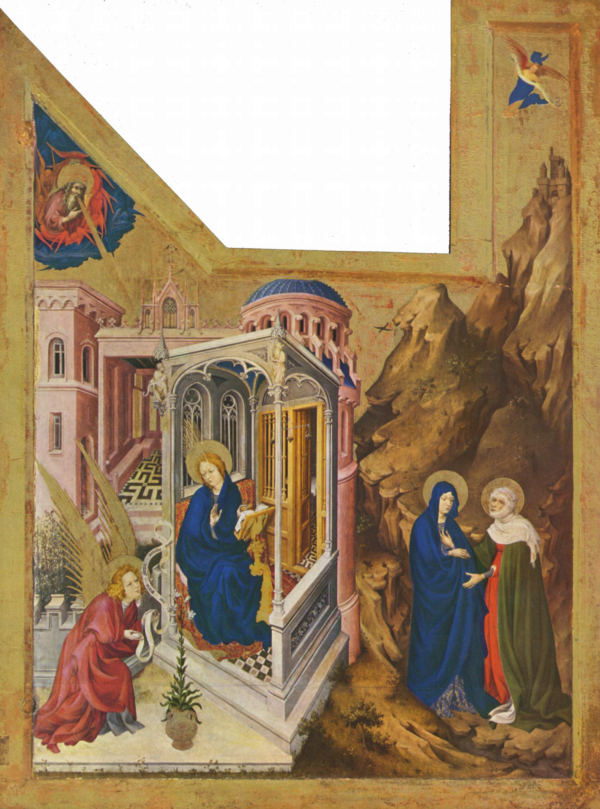Altar of Philip the Bold, Duke of Burgundy, left wing: Annunciation and Visitation, 1399