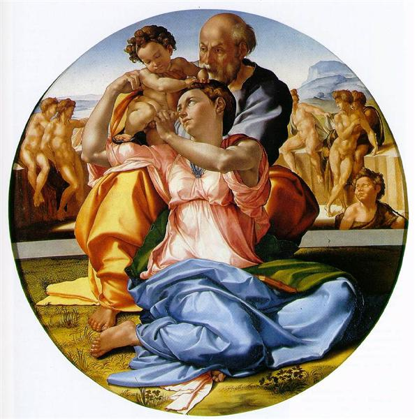 Holy Family with St. John the Baptist, c.1506 - Микеланджело