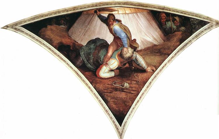 Sistine Chapel Ceiling: David and Goliath, 1509 - Michelangelo