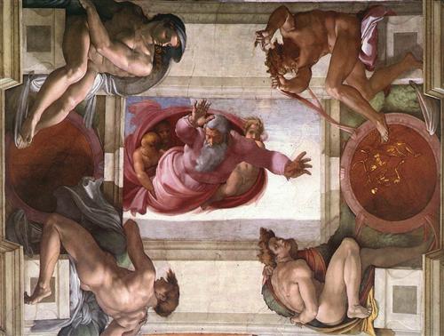 Sistine Chapel Ceiling: God Dividing Land and Water - Микеланджело