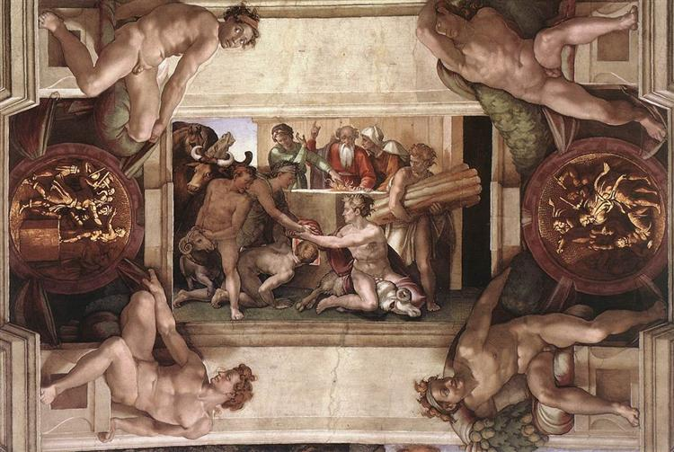 Sistine Chapel Ceiling: Sacrifice of Noah, 1512 - Michelangelo