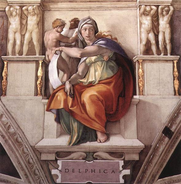 Sistine Chapel Ceiling: The Delphic Sibyl, 1509 - Michel-Ange