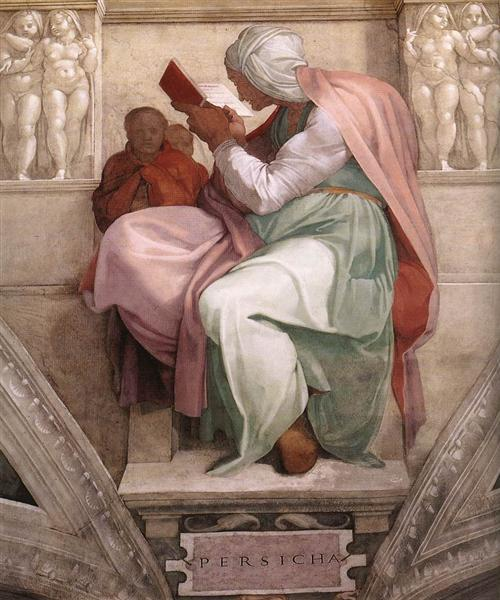 Sistine Chapel Ceiling: The Persian Sibyl, 1511 - Микеланджело