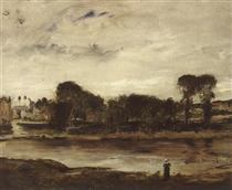 Landscape with River - Mihály Munkácsy