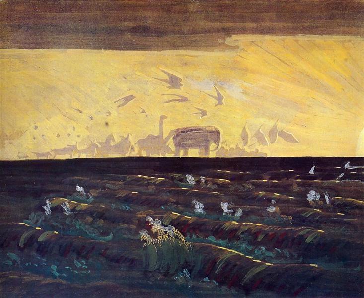 Adoration of the Sun, 1909 - Mikalojus Konstantinas Ciurlionis