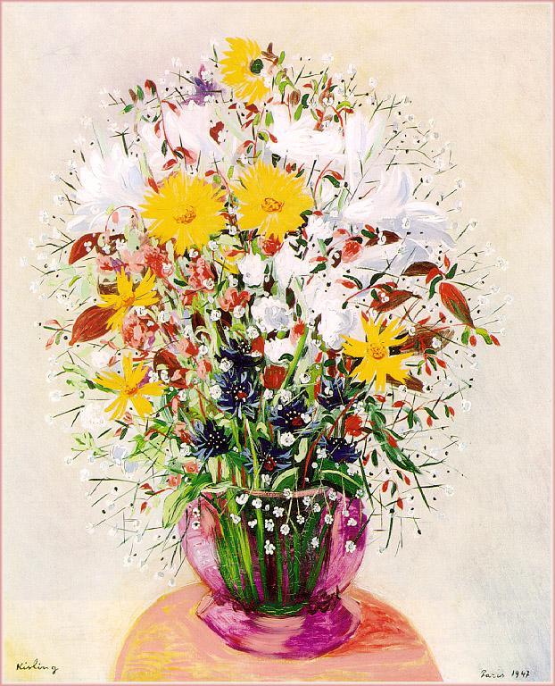 bouquet of flowers moise kisling encyclopedia of visual arts. Black Bedroom Furniture Sets. Home Design Ideas