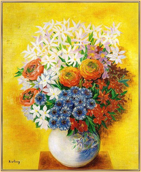 Bouquet of various flowers - Moise Kisling