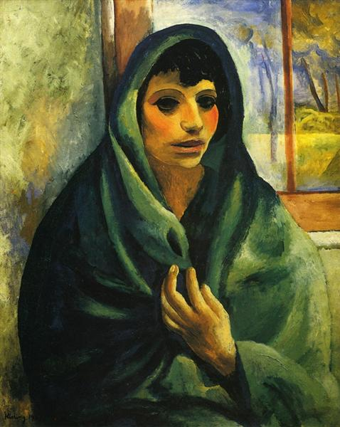 Girl with green shawl, 1919 - Moise Kisling
