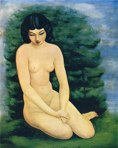 Nude in landscape - Moïse Kisling