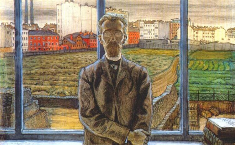 Man with Spectacles. Portrait of the Art Critic and Poet Constantin Sunnerberg. - Mstislav Dobuzhinsky