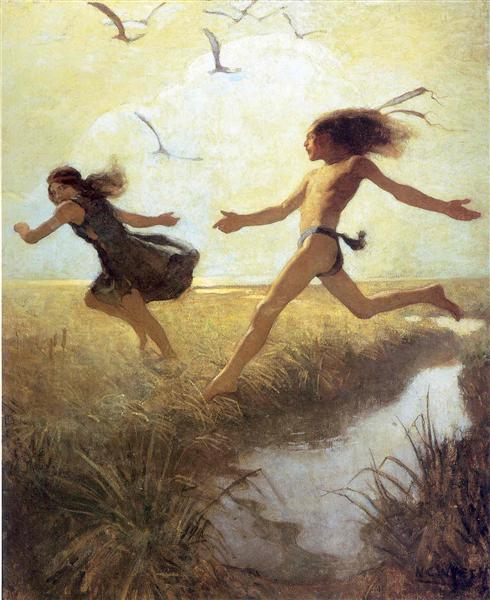 The children were playing at marriage-by-capture - N.C. Wyeth