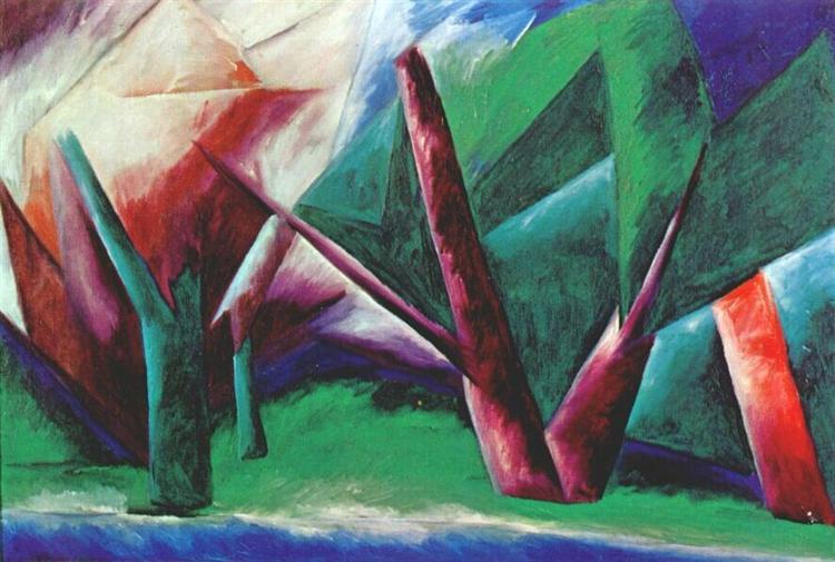 Forest (Red-green), 1913 - 1914 - Natalia Goncharova