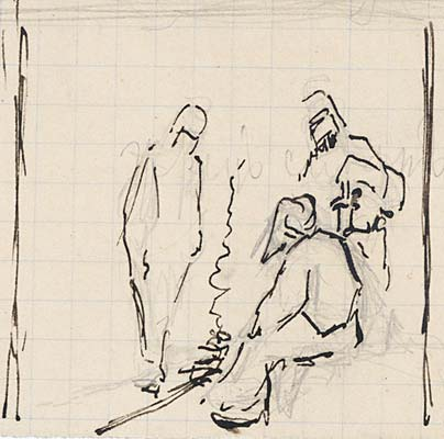 Cursory sketch of three figures by bonfire, 1889