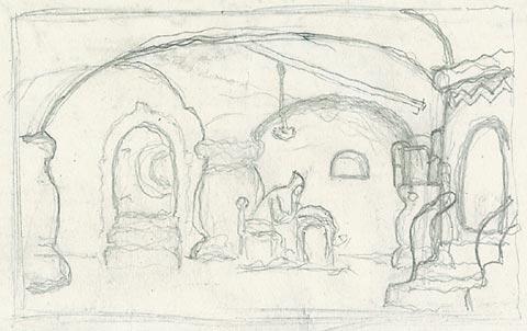 "Scenery sketch for Mussorgsky's opera ""Boris Godunov"", c.1920 - Nicholas Roerich"