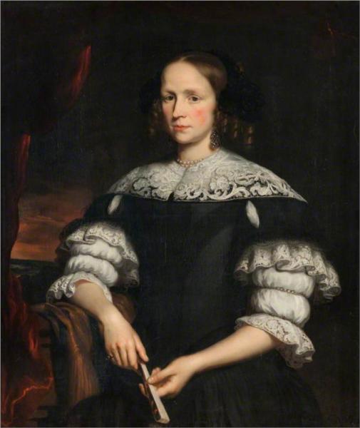 Portrait of a Woman with a Fan, 1671 - Николас Мас