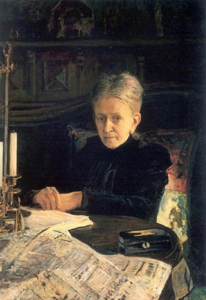 Портрет писательницы и общественной деятельницы Елены Осиповны Лихачевой, 1892 - Николай Ге